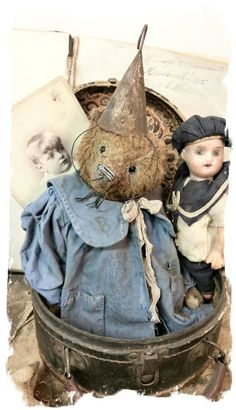 """handmade by Wendy Meagher of Whendi's Bears - An Original ONE OF A KINDapprox 11"""" Tall - Antique Style Well Aged Vintage Long Hair  Brown Bear with old antique tin bell """"hat"""""""