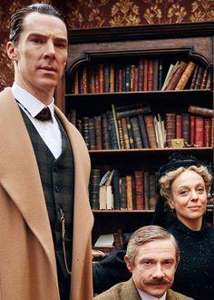 "benedictsherllock: "" ""Benedict Cumberbatch, Martin Freeman and Amanda Abbington, behind the scenes of The Abominable Bride. [x] "" """