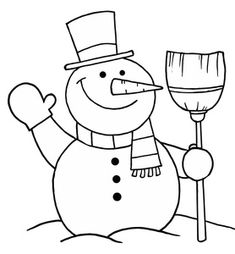 Snowman Black And White Christmas Gift Clipart