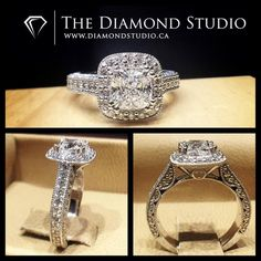 How spectacular is this @diamondboi vintage design? This design was made with a 1.00ct Cushion Cut diamond. The diamond sits on a tight bead set cushion halo. The shank also features diamonds in a bead setting. The gallery I incorporated my signature vintage half moons as well as the client's initial on one side and his finance's on the other. #diamond #diamonds #wedding #weddings #engagement #ring #rings #bride #brides #jewellery #jewelry #vintage #halo #diamondboi