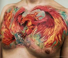 Attractive Flaming Phoenix With Diamond Tattoo On Man Chest