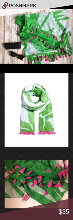 Lilly Pulitzer for Target boom boom green scarf New without tags Lilly Pulitzer for Target Boom Boom Scarf Wrap with Pink Tassels. Brand new with tags and in perfect condition! Absolutely gorgeous! Please note only the scarf is for sale  Sunglasses are not included   The scarf is 70x43. From smoke and pet free home  Thank you for looking Lilly Pulitzer Accessories Scarves & Wraps