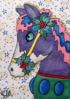 "Aceo Original  ""CHRISTMAS CAROUSEL HORSE""  pencil/ink  #OutsiderArt"