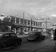 Helsinginkatu 1, taustalla Kinaporinkatu 2. Hakutulokset - Finna - Helsingin kaupunginmuseo The Old Days, Helsinki, Good Old, Time Travel, Finland, Volkswagen, Past, Old Things, Street View