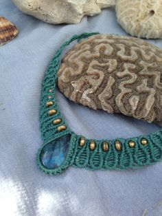 Labradorite turquoise macrame wave necklance with by ARTofCecilia