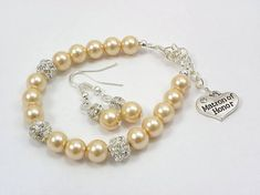 Bridesmaid Gift Bridesmaid pearl Bracelet and earrings Set