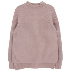 High Neck Raglan Knit Sweater (3,090 MKD) ❤ liked on Polyvore featuring tops, sweaters, jumpers, clothes - tops, loose sweater, knit jumper, long sleeve knit tops, ribbed sweater and long sleeve tops