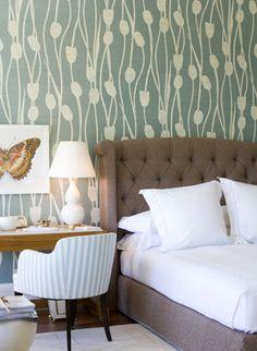 Modern wallpaper: Lovely green + brown + white bedroom + floral wallpaper + upholstered headboard by xJavierx, via Flickr