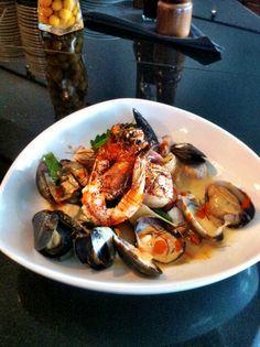   Miso Lemongrass Chowder w/ shrimp, scallops, steamed Kona clams ...