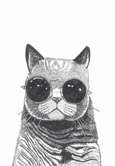 cool cat Art Print by Polkip