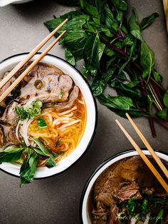 spicy vietnamese noodle soup: bun bo hue recipe via Think Food, I Love Food, Good Food, A Food, Vietnamese Recipes, Asian Recipes, Ethnic Recipes, Vietnamese Noodle, Healthy Recipes