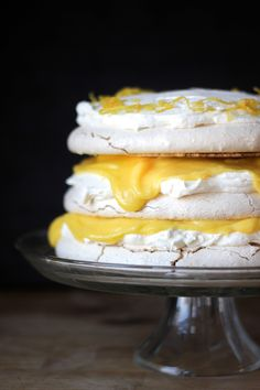 Lemon takes centre stage in this Vanilla Bean Pavlova with Lemon Curd + Mascarpone.