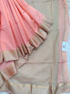 Peach colour chanderi silk cotton saree with Tusser colour Pallu & Blouse Silk Cotton Sarees, Cotton Silk, Peach Colors, Blouse, Blouse Band, Blouses, Sweatshirt, Top