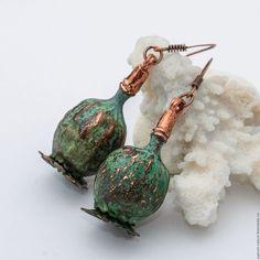 """Купить Серьги """"Малахитовые маки"""" - зеленый, мак, маки, медь, серьги, серьги с маками"""