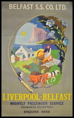 Belfast ferry travel poster