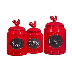 Home Essentials And Beyond Red Chalkboard Canister Set (850 MXN) ❤ Liked On  Polyvore