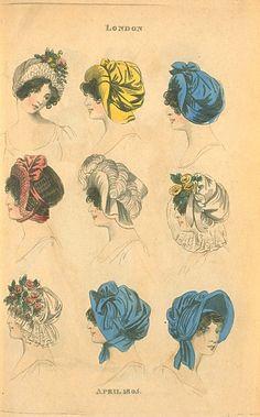 Head Dresses, April 1805, Fashions of London & Paris