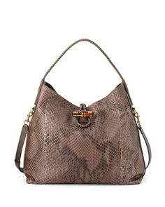 Hip Python Shoulder Bag, Field Gray by Gucci at Neiman Marcus.