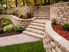 Diamond Stone Cut Retaining Wall System was created at the request of contractors who rely on the rugged dependability of the Diamond retaining wall system Landscaping A Slope, Landscaping Retaining Walls, Landscaping Ideas, Sloped Garden, Raised Garden Beds, Stone Planters, Concrete Pavers, Stone Cuts, Backyard Patio