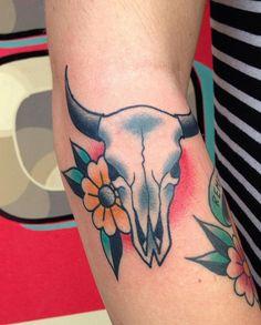 Traditional cow skull tattoo I got in September