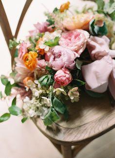 colorful frou frou chic wedding bouquet elisa bricker