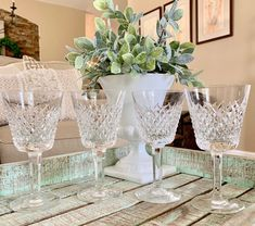 Set of Four Waterford Crystal Claret Wine Glasses Alana Pattern Signed Wedding Bridal Shower TYCAALAK
