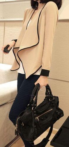 Flounce Hem Black Edge Chiffon Jacket Fashion style