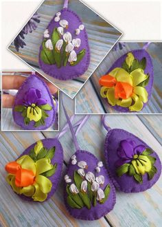 Easter is coming! Super #cute #felt #eastereggs with #embroidered #springflowers is a perfect Easter #decor!