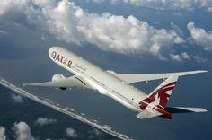 Qatar Airways Boeing 777-3DZ/ER A7-BAC in flight over the Washington coast prior to delivery, August 2008. (Photo: Boeing / Qatar Airways)