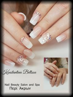 Salon Nails, square Oval Shape nails , Bridal nails, gel polish, Babyboomer, ombre, French manicure, gel painting, lace, long nails.