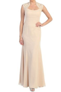 scoop neckline, lace strap and back long bridesmaid dress 104-dq8870