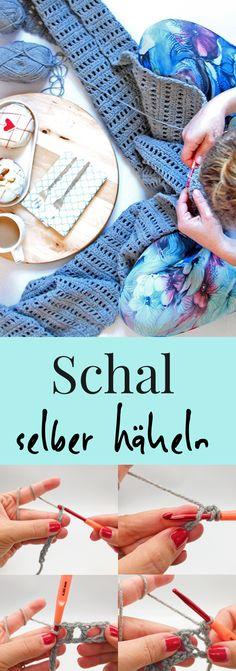 So einfach könnt Ihr Euch einen Schal selber häkeln. Einfache Häkelanleitung, auch für Anfänger geeignet. Einfaches Häkelmuster zum nach häkeln mit DIY Video Anleitung auf Deutsch. #häkeln #häkelanleitung #häkelnanfänger