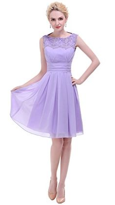 Esovr Appliques Neckline Short Party Prom Dresses Bridesmaid Dresses at Amazon Women's Clothing store:
