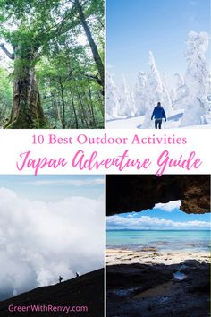 Great guide for outdoor activities in Japan. Inspiration for adventurous travelers. Hiking, kayaking, skiing and even forest bathing await. Where to find outdoor activities in Japan #Japanadventure #hikinginJapan #kayakinJapan