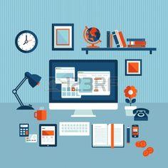 Flaches Design Vektor-Illustration Konzept der modernen Business-Arbeitsbereich