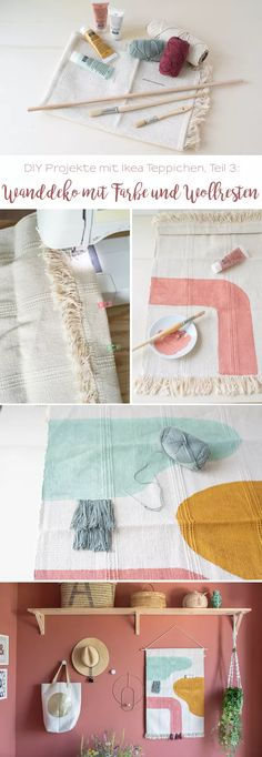 DIY Deko DIY-Projekte mit Teppichen: Wanddekoration - Leelah Loves Kitchen And Bath Hardware Buying Ikea Carpet, Room Carpet, Diy Wall Art, Wall Decor, Interior Room Decoration, Ikea Rug, Best Dining, Diy Embroidery, Manualidades