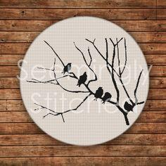 Cross Stitch Pattern Birds on Branch
