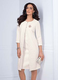 Elegant three-quarter sleeve A-line coat with front crochet panel detailing and hook and eye fastening to neckline. Fully lined. Dry clean 60% Polyester, 35% Viscose, 5% Elastane Lining: 100% Polyester Length approx. 94 cm (37 ins)