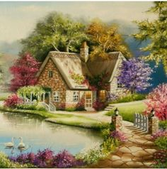 A 100 pieces jigsaw puzzle from Jigidi Cute Cottage, Cottage Art, Beach Landscape, Fantasy Landscape, Landscape Drawings, Landscape Paintings, Watercolor Paintings, Cenas Do Interior, Kinkade Paintings