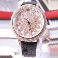 Black New Fashion Luxurious Crystal Watches For Women Genuine Leather Rhinestone Crystal Flower Quartz Wristwatch Hour For Women Lady