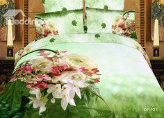 100% cotton fantastic flower 3D Oil printed green 4 piece Bedding sets (10532458) - beddinginn.com