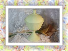 Vintage Fenton Yellow Daisy Custard Satin Lidded Compote. Starting at $35
