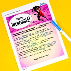 Free #Printable Mrs. Incredible #MothersDay Card - doing-disney.com #Disney