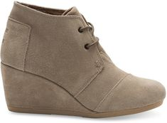 1e9ee769abf Amazing TOMS wedge suede shoes with lace up front. Wedge heel measures  approximately at the highest point. Taupe or black - both would look  amazing with ...