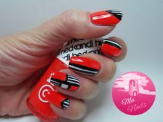 Neon Red Stripy Nails