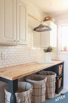 Farmhouse Laundry Room with subway tile Alape Bucket Sink with Navy Trim x x Laundry Room Diy, Bucket Sink, Diy Laundry, Room Renovation, Room Storage Diy, Kitchen Room, Farmhouse Laundry Room, Home Decor, Room Makeover