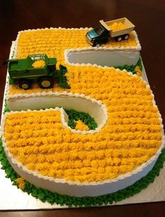 farming cake. so cute and probably relatively easy to do if you have the icing tip! Can do a letter for a first name too