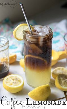 Coffee Lemonade Recipe (Iced Coffee) Lemons, Simple Syrup, Coffee Coffee Lemonade – for those people so crazy for coffee that they will just about try any coffee drink. Enjoy this refreshing, sweet coffee drink to chase away the heat and humidity! Coffee Drink Recipes, Tea Recipes, Smoothie Recipes, Cocktail Recipes, Smoothies, Cocktails, Sweet Coffee, Iced Coffee, Coffee Art