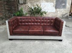 Retro industrial Vintage loft-style aluminum skin leather sofa by on Etsy Leather Sofa, Pu Leather, Leather Chesterfield, Living Styles, Loft Style, Rustic Industrial, Unique Furniture, Sofa Design, Love Seat