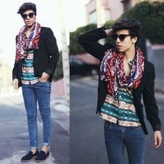 Scarves Zara, Blazer Zara, Cheap Monday Jeans Cheapmonday, Shirt H&M, Shoes Paul Smith